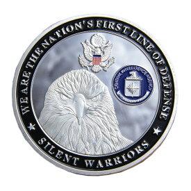 チャレンジコイン 自由の女神 CIA 紋章 白頭鷲 記念メダル Challenge Coin 記念コイン Statue of liberty 中央情報局 CIAポリスバッジ ハクトウワシ 星条旗 彫刻 円形 透明ケース付き ミリタリーメダル ミリタリーコイン