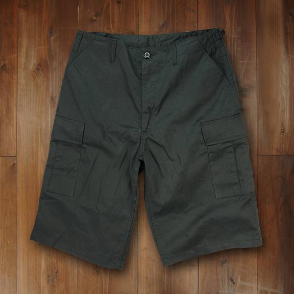 Rothco ハーフカーゴパンツ BDUショーツ ジッパー [ ブラック / Lサイズ ] ミリタリーパンツ TDUパンツ BDUパンツ メンズボトム