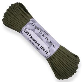 ATWOOD ROPE 550パラコード タイプ3 オリーブドラブ アトウッドロープ ARM Olive Drab カーキ 商用 パラシュートコード 綱 靴紐 靴ひも シューレース 防災