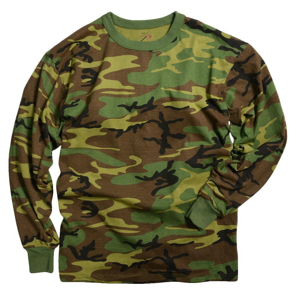 Rothco Tシャツ 長袖 ウッドランドカモ 6778 [ Lサイズ ] ロスコ ロングTシャツ ロンT 長そで カモフラージュ カモ柄 リブ編み コットン ポリエステル 通気性 速乾性