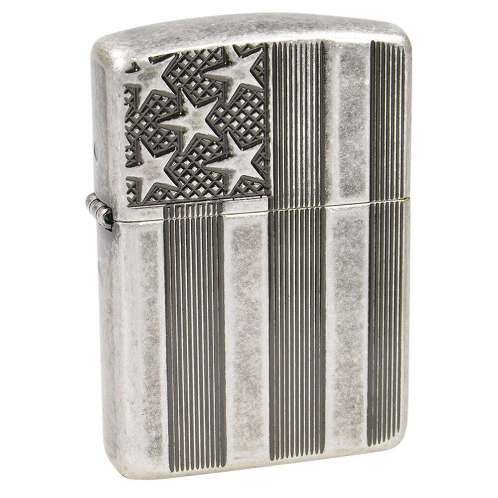 ZIPPO アーマー アメリカ国旗 #28974 アンティークシルバー ジッポー オイルライター ARMOR 米国旗