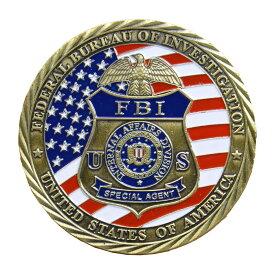 チャレンジコイン FBI 公式紋章 記念メダル Challenge Coin 記念コイン ミカエル像 亜鉛合金 彫刻 円形 透明ケース付き