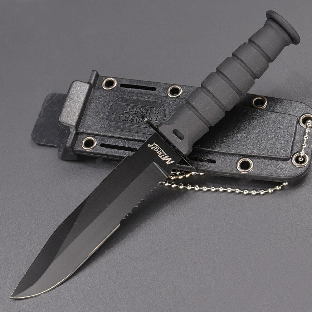 Mテック アウトドアナイフ 半波刃 プラスチックシース付 シースナイフ ハーフセレーション MTech