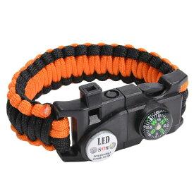 多機能 パラコードブレスレット LEDライト ホイッスル付 [ ブラック&オレンジ ] パラシュートコード コード・ブレス 腕輪 ナイロンブレスレット コンパス ファイヤースターター 缶切り 緊急 災害