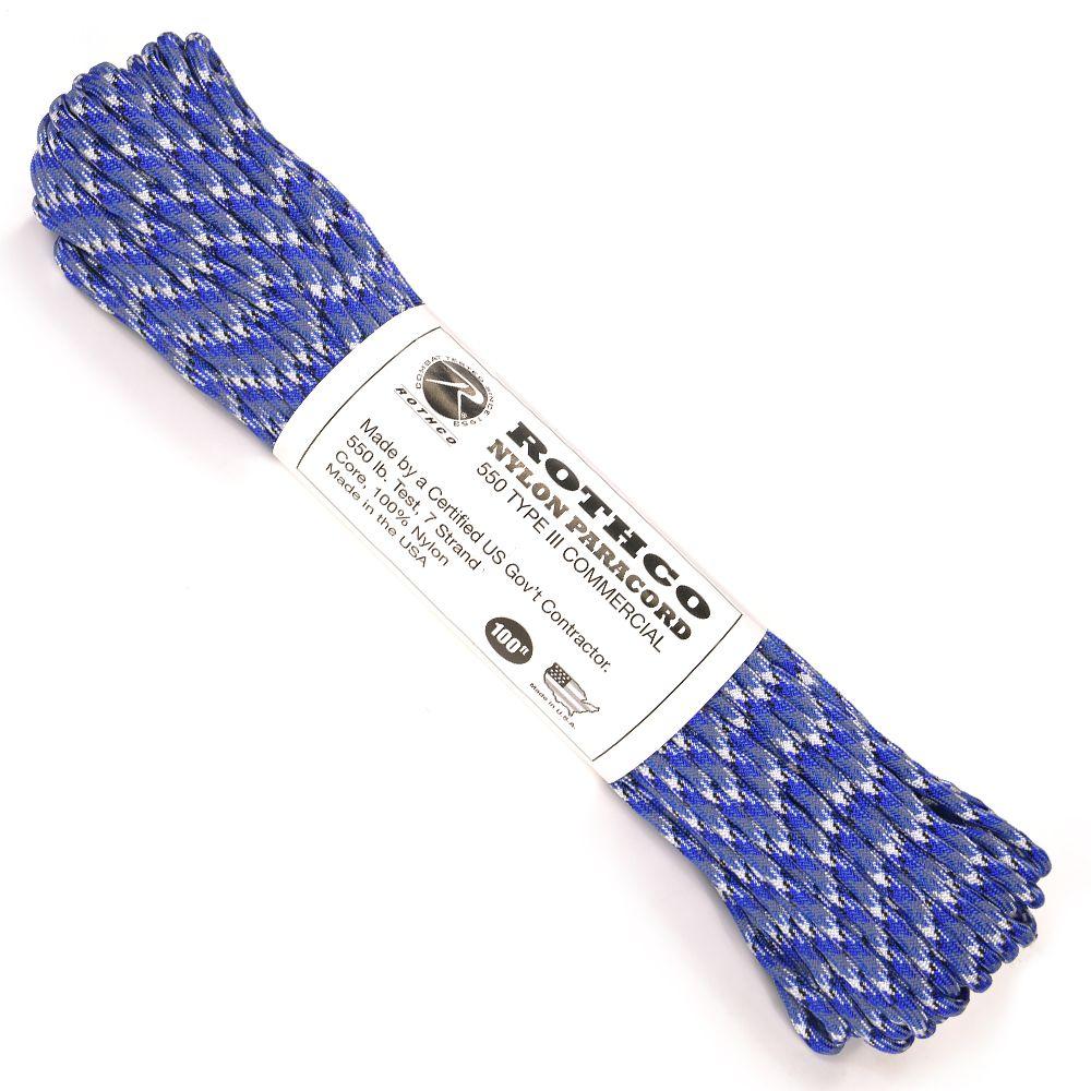 ROTHCO パラコード タイプ3 ブルーカモ 30m ロスコ 550パラコード ロープ パラシュートコード 綱 靴紐 靴ひも シューレース