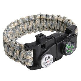 多機能 パラコードブレスレット LEDライト ホイッスル付 [ ACUカモ ] パラシュートコード コード・ブレス 腕輪 ナイロンブレスレット コンパス ファイヤースターター 缶切り 緊急 災害