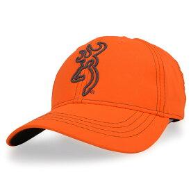 Browning 野球帽 ブレイズオレンジ Hi-Viz Blaze ロゴ入り ブローニング Orange ハイビズ・ブレイズ ベースボールキャップ メンズ ワークキャップ ハット ミリタリーキャップ 刺繍 ベルクロ