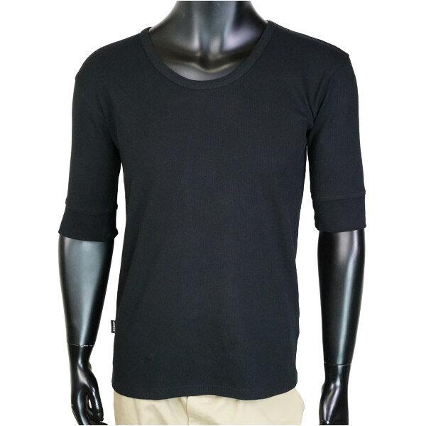 AVIREX 5分袖Tシャツ 無地 デイリー Uネック ワッフル [ ブラック / Mサイズ ] アヴィレックス アビレックス 6143508 メンズTシャツ ハーフスリーブ