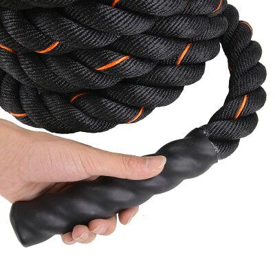 トレーニングロープ9m縄ブラック×オレンジ[5cmx9m]バトルロープジムロープフィットネスロープスイングロープジャンプロープ体幹トレーニング筋トレダイエットスポーツ用品室内屋外