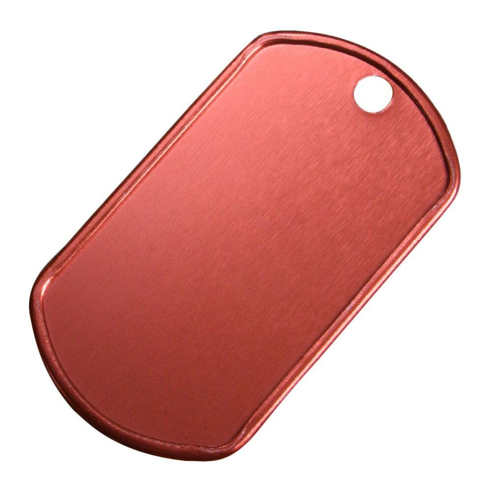 アルミ製 ドッグタグプレート つや消し カラー [ レッド ] ドックタグ 認識票 DOG TAG つやあり 艶あり つやなし メンズアクセサリー