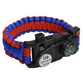 多機能 パラコードブレスレット LEDライト ホイッスル付 [ レッド&ブルー ] パラシュートコード コード・ブレス 腕輪 ナイロンブレスレット コンパス ファイヤースターター 缶切り 緊急 災害