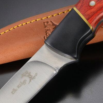 ElkRidgeアウトドアナイフER-029パッカーウッドハンドルマスターカトラリーエルクリッジ登山魚釣りフィッシングナイフキャンプナイフ狩猟サバイバルナイフシースナイフ