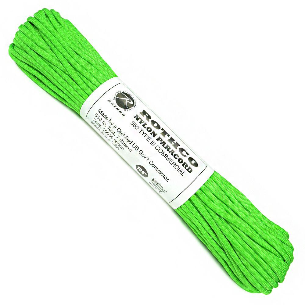 ROTHCO パラコード タイプ3 セーフティグリーン 30m ロスコ 550パラコード パラシュートコード ロープ 綱 靴紐 靴ひも シューレース