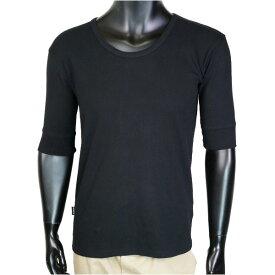 AVIREX 5分袖Tシャツ 無地 デイリー Uネック ワッフル [ ブラック / Lサイズ ] アヴィレックス アビレックス 6143508 メンズTシャツ ハーフスリーブ