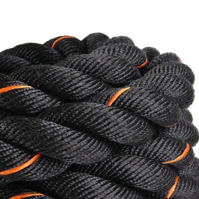 トレーニングロープ9m縄ブラック×オレンジ[3.8cmx9m]バトルロープジムロープフィットネスロープスイングロープジャンプロープ体幹トレーニング筋トレダイエットスポーツ用品室内屋外