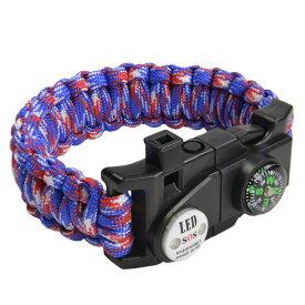 多機能 パラコードブレスレット LEDライト ホイッスル付 [ トリコロール ] パラシュートコード コード・ブレス 腕輪 ナイロンブレスレット コンパス ファイヤースターター 缶切り 緊急 災害