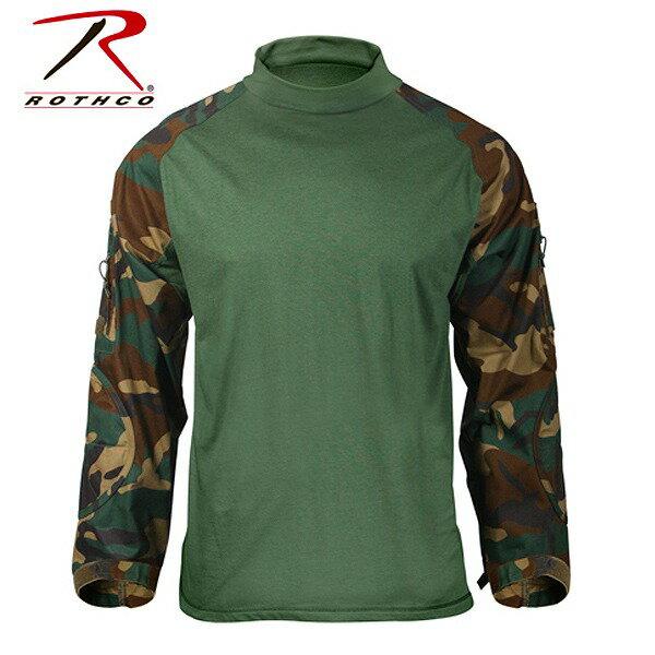 Rothco コンバットシャツ ウッドランドカモ 90025 [ Lサイズ ] ロングスリーブ 長袖|ロスコ メンズ 防寒着 防寒装備