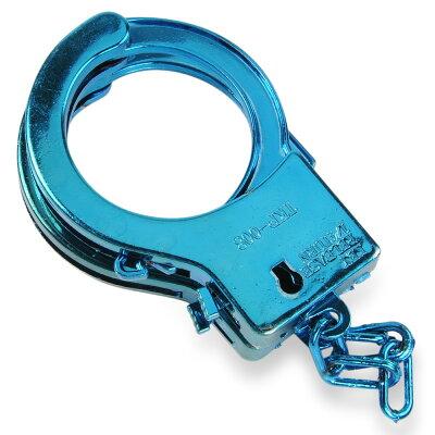 おもちゃ手錠プラスチック鍵付き[ブルー]玩具小物ハンドカフハンドカフス手枷コスプレ