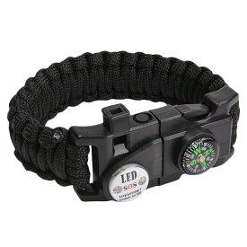 多機能 パラコードブレスレット LEDライト ホイッスル付 [ ブラック ] パラシュートコード コード・ブレス 腕輪 ナイロンブレスレット コンパス ファイヤースターター 缶切り 緊急 災害