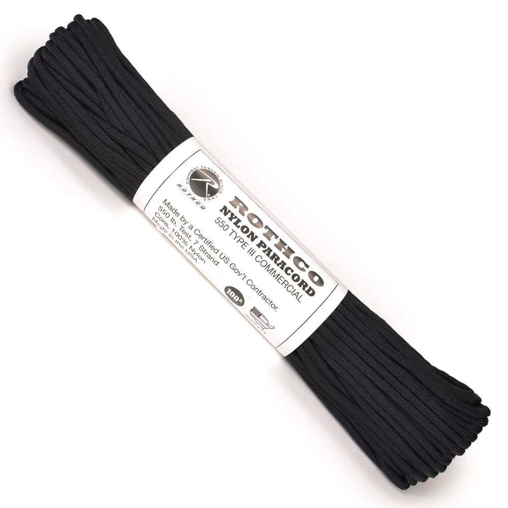 ROTHCO パラコード タイプ3 ブラック [ 30m ] ロスコ 550パラコード パラシュートコード ロープ 綱 靴紐 靴ひも シューレース