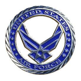 チャレンジコイン U.S.エアフォース 紋章 記念メダル Challenge Coin 記念コイン USAF アメリカ軍 モットー 亜鉛合金 シルバーメッキ 彫刻 円形 透明ケース付き