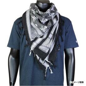 ロスコ デザートスカーフ アフガンストール 8539 シュマグ [ ホワイト_/_ブラック ] Rothco shemagh シュマーグ 髑髏 どくろ 帽子 マフラー ヘッドスカーフ
