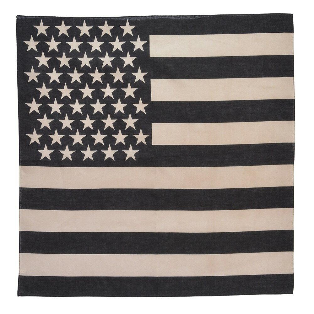 ROTHCO バンダナ アメリカ 星条旗 [ ブラック&カーキ / Sサイズ ] ロスコ Rothco ミリタリーバンダナ ハンカチ スカーフ