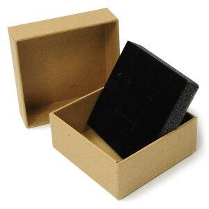ギフトボックス 貼り箱 8×8×3.5cm アクセサリーケース [ ブラウン / 50個セット ] プレゼントボックス ジュエリーBOX 厚紙 スポンジ付き ラッピング パッケージ 無地 収納