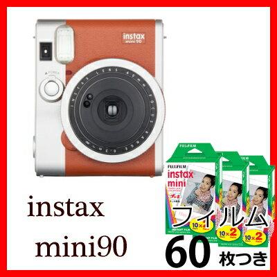 富士フイルム チェキ instax mini 90 ネオクラシック ブラウン+チェキフィルム60枚付