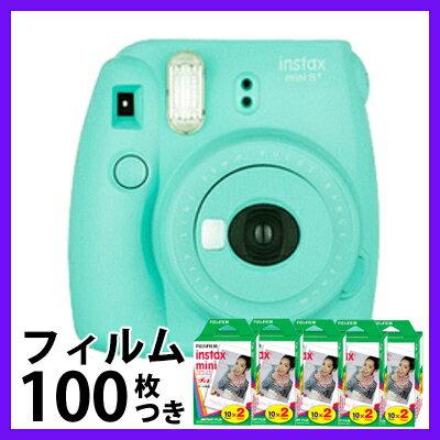 富士フィルム(フジフィルム)チェキinstax mini8+ チェキ8プラス/チェキ8+ ミント+フィルム100枚付き