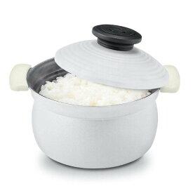 アピデ 2合炊きアルミ炊飯鍋16cm 土鍋風 IH対応 ホワイト ククナキッチン KKN-RC02WH