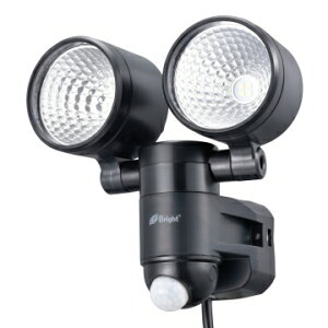 OHM オーム電機 人感センサーライト コンセント式 2灯 LS-A285A-K ブラック