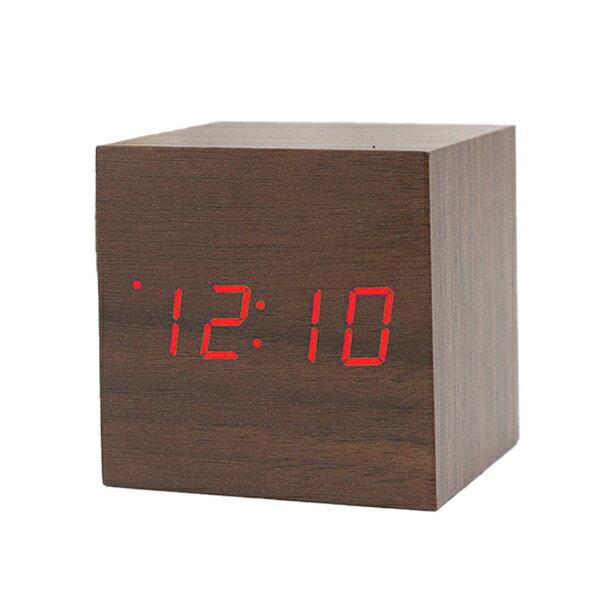 ウッド調デジタルクロック【送料無料】 LED デジタル時計 コンパクト 置時計 USB電源 電池対応 アラーム機能 便利