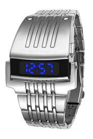 【送料無料】メタリックLEDブレスウォッチ2本セット 腕時計 デジタル ブレスレット 重厚感 クオーツ式 LED 通販
