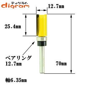 トリマー ビット トップベアリング トリム パターン 1/4軸 ( 刃径 12.7mm ) Microtungsten carbide 【dm12504】