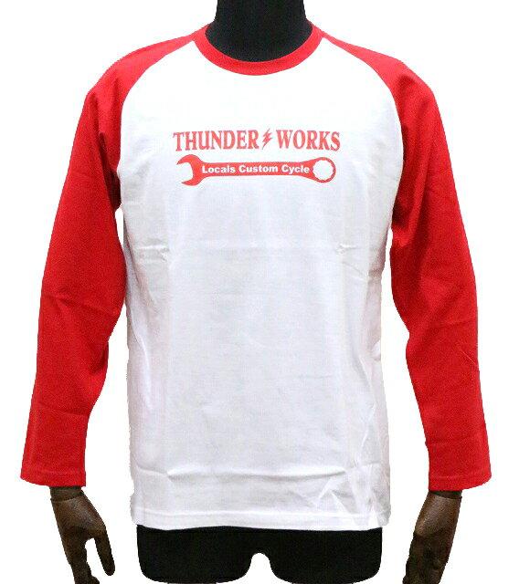 エアフィッシュ 【AirFish】 THUNDER WORKS ロングTシャツ 【ホワイト/レッド】