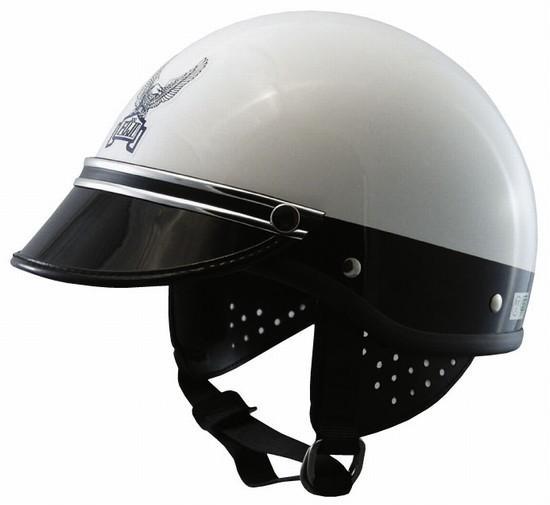 コミネ (KOMINE) FUJI300Cヘルメット USポリス (シルバーモール) (装飾用バイザー付き) (01-154、01-155SL)