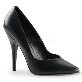 即納靴 PLEASER プリーザー ハイヒール パンプス レディース メンズ ポインテッドトゥ 12.5cm ピンヒール 黒 ブラック つや消し 結婚式コーデ 大きいサイズあり 21.5 22 22.5 23 23.5 24 24.5 25 25.5 26 26.5 27 27.5 28 28.5 29 29.5 30 30.5 31 31.5 32 cm センチ