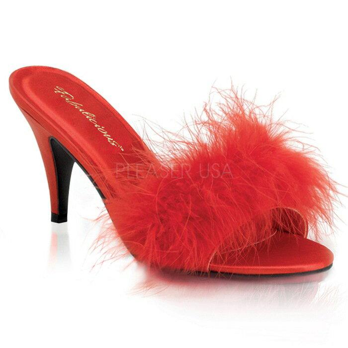 取寄せ靴 ふさふさファー付き 薄厚底ミュールサンダル 7.5cmヒール 赤レッドサテン Pleaserプリーザー 大きいサイズあり イベント 仮装 女装 男装 パーティ- LGBTファッション