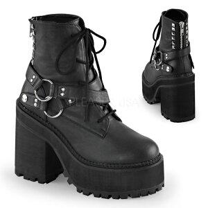 DEMONIA デモニア ショートブーツ 厚底 12 cm センチ ヒール 黒 ブラック 合皮 フェイクレザー クロスベルト シルバー スタッズ リング 編み上げ レースアップ ジッパー 厚底靴 小さいサイズ 大