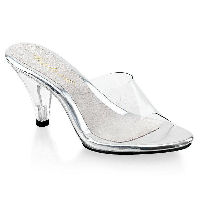取寄せ靴 クリア ミュールサンダル 7.5cmコーンヒール クリア Pleaser プリーザー 大きいサイズあり イベント 仮装 女装 男装 パーティ- LGBTファッション