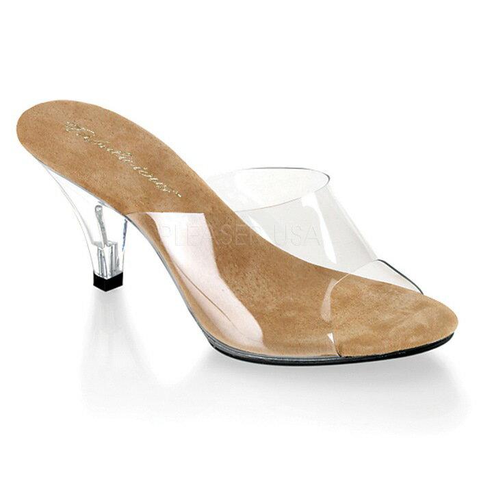 取寄せ靴 薄厚底ミュールサンダル 7.5cmクリアヒール クリアタン Pleaserプリーザー 大きいサイズあり イベント 仮装 女装 男装 パーティ- LGBTファッション