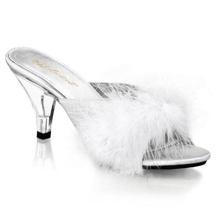 取寄せ靴 ふさふさファー付き 薄厚底ミュールサンダル 7.5cmクリアヒール 白ホワイトサテン Pleaserプリーザー 大きいサイズあり イベント 仮装 女装 男装 パーティ- LGBTファッション