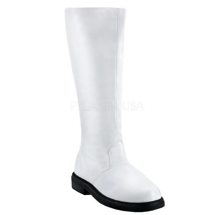 即納靴 送料無料 コスプレ メンズ ロングブーツ ワイドな筒周り プラスサイズ サイドジッパー付 2.5cmヒール 白 ホワイト つや消し FUNTAZMA ファンタズマ 大きいサイズあり イベント 仮装 女装 男装 パーティ- LGBTファッション