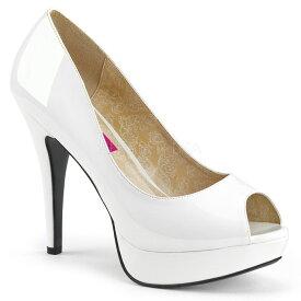 取寄 靴 送料無料 ピープトゥ ハイヒール パンプス 13.5cmヒール 白 ホワイト エナメル 大きいサイズあり イベント 仮装 女装 男装 パーティ- ハロウィン コスプレ