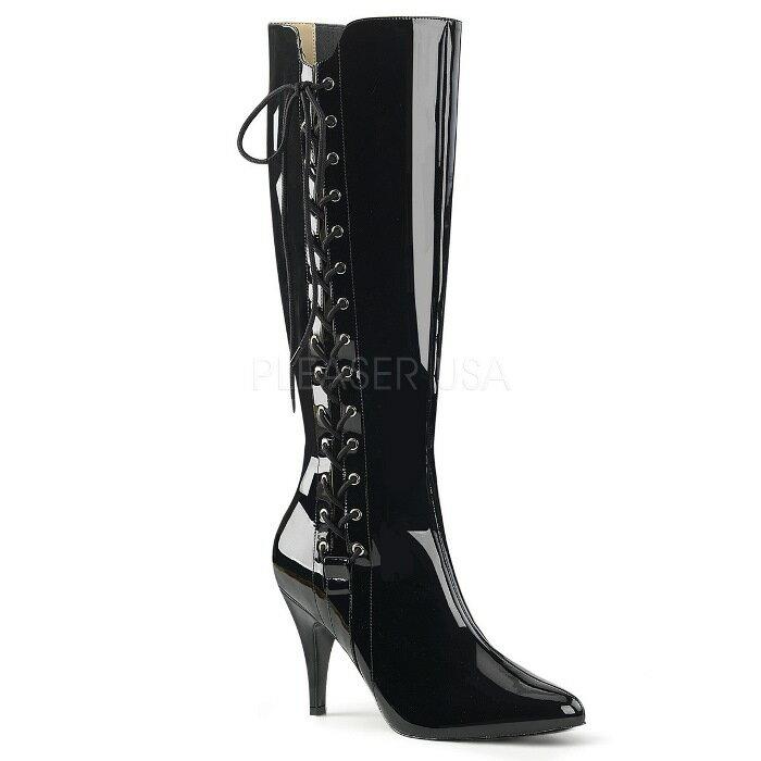 取寄せ靴 送料無料 サイド レースアップ 編み上げ ハイヒール ロング ブーツ 10cmヒール ジッパー付き 黒 ブラック エナメル 大きいサイズあり イベント 仮装 女装 男装 パーティ- LGBTファッション