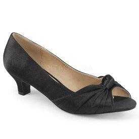 取寄 靴 送料無料 オープントゥ ローヒール パンプス 5cmヒール 黒 ブラック サテン 大きいサイズあり イベント 仮装 女装 男装 パーティ- ハロウィン コスプレ