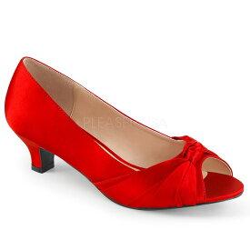 取寄 靴 送料無料 オープントゥ ローヒール パンプス 5cmヒール 赤 レッド サテン 大きいサイズあり イベント セクシー サンタ 女装 パーティ- クリスマス コスプレ