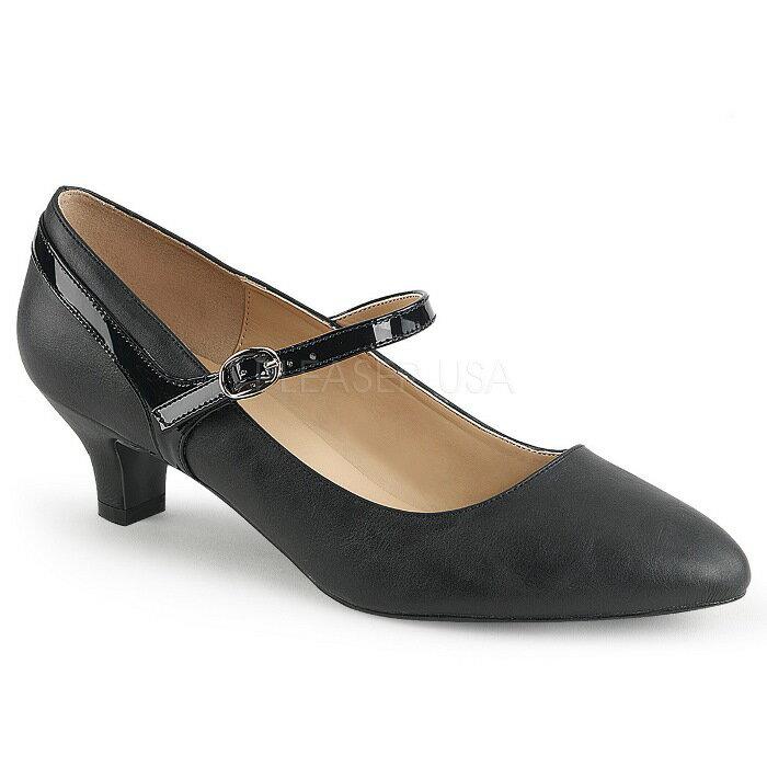 取寄せ靴 送料無料 甲ベルト ローヒール パンプス 5cmヒール 黒 ブラック フェイクレザー 大きいサイズあり イベント 仮装 女装 男装 パーティ- ハロウィン コスプレ