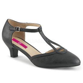 取寄せ靴 送料無料 Tストラップ ローヒール パンプス 5cmヒール 黒 ブラック フェイクレザー 大きいサイズあり イベント 仮装 女装 男装 パーティ- ハロウィン コスプレ